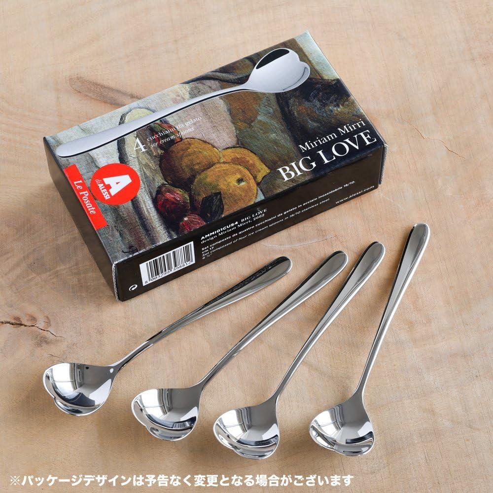 Alessi Big Love AMMI01CU Set di 6 Cucchiaini per Gelato di Design in Acciaio Inox