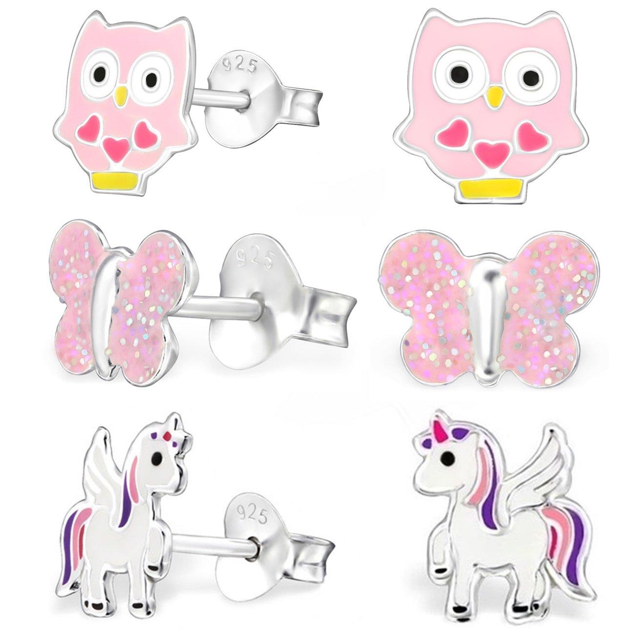GH* KIDS 3 PAAR Ohrstecker Pegasus Einhorn + Eule + Schmetterling 925 Echt Silber Mädchen Kinder Ohrringe XM107 GH-1a XM007ÄD