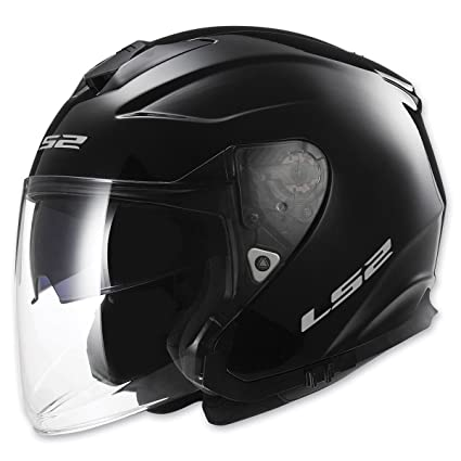 LS2 Helmets Infinity Solid Open Face Off-Road Motorcycle Helmet with Sunshield (Gloss Black