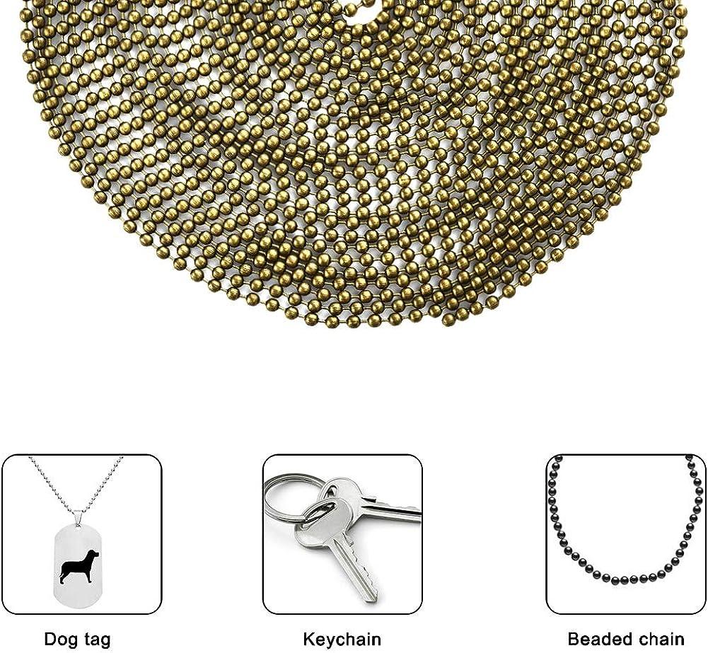 Cizen 5M Perle de Connecteur Ajustable avec 30Pcs Fermoirs Embouts Connecteurs convenir pour Pendentif DIY Collier Inoxydable Cha/îne Boule