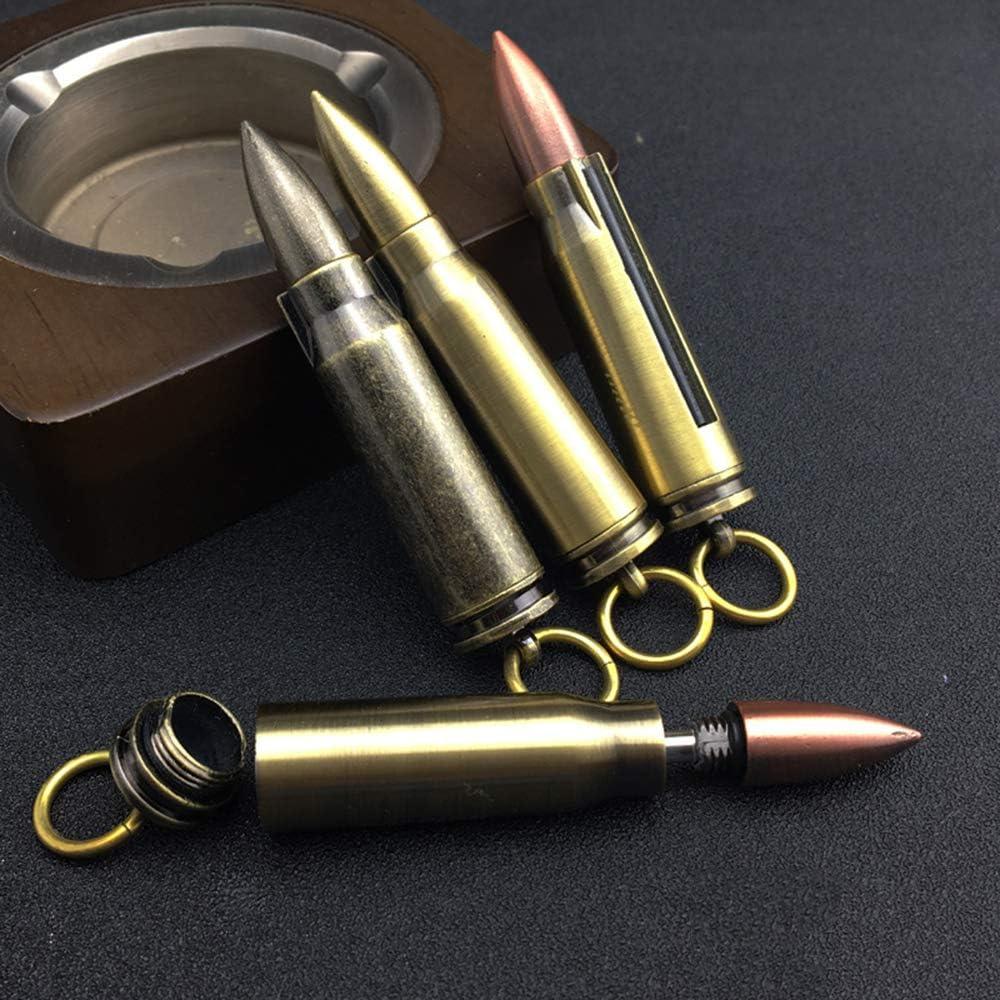 Encendedor de pipa de tabaco llavero con forma de bala accesorios para cigarrillos port/átil encendedor de metal puro impermeable de bronce regalos para pap/á y novio ARTSTORE