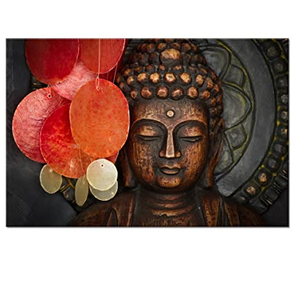 Amazon.com: Buddha Canvas Wall Art Wood Buddha Statue Canvas Prints ...