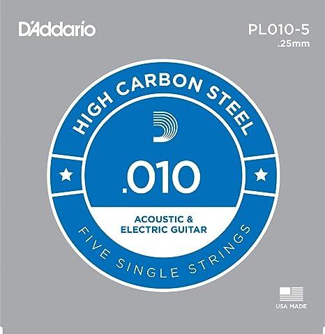 DAddario PL010-5 - Juego de cuerdas para guitarra acústica, material de