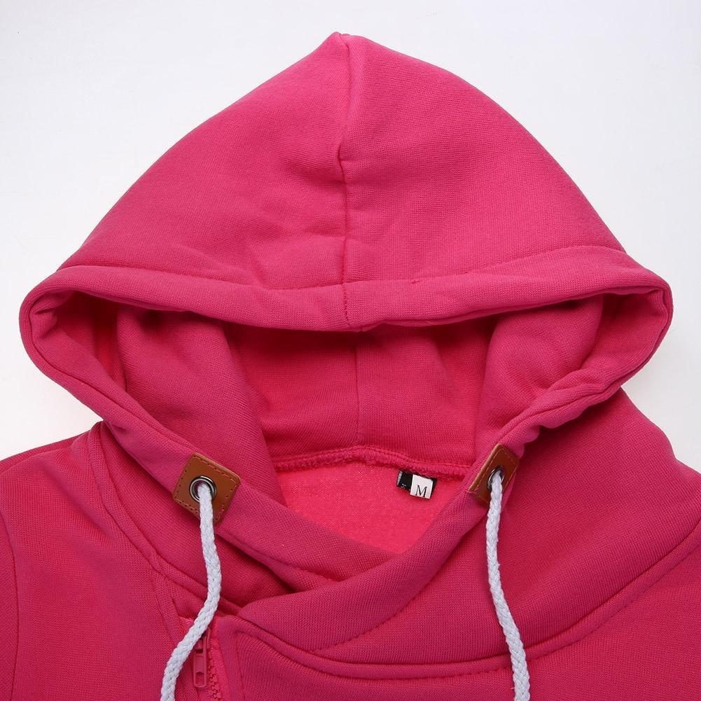 Diamondo Lady with Cap Sweater Cardigan Side Zipper Fleece Hoodies Coat