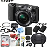 Sony a5100 Alpha Mirrorless Digital Camera 24MP DSLR (Black) w/16-50mm Lens ILCE-5100L/B with Extra Battery Case 16GB Memory Deluxe Pro Bundle (Essential Kit, Black)