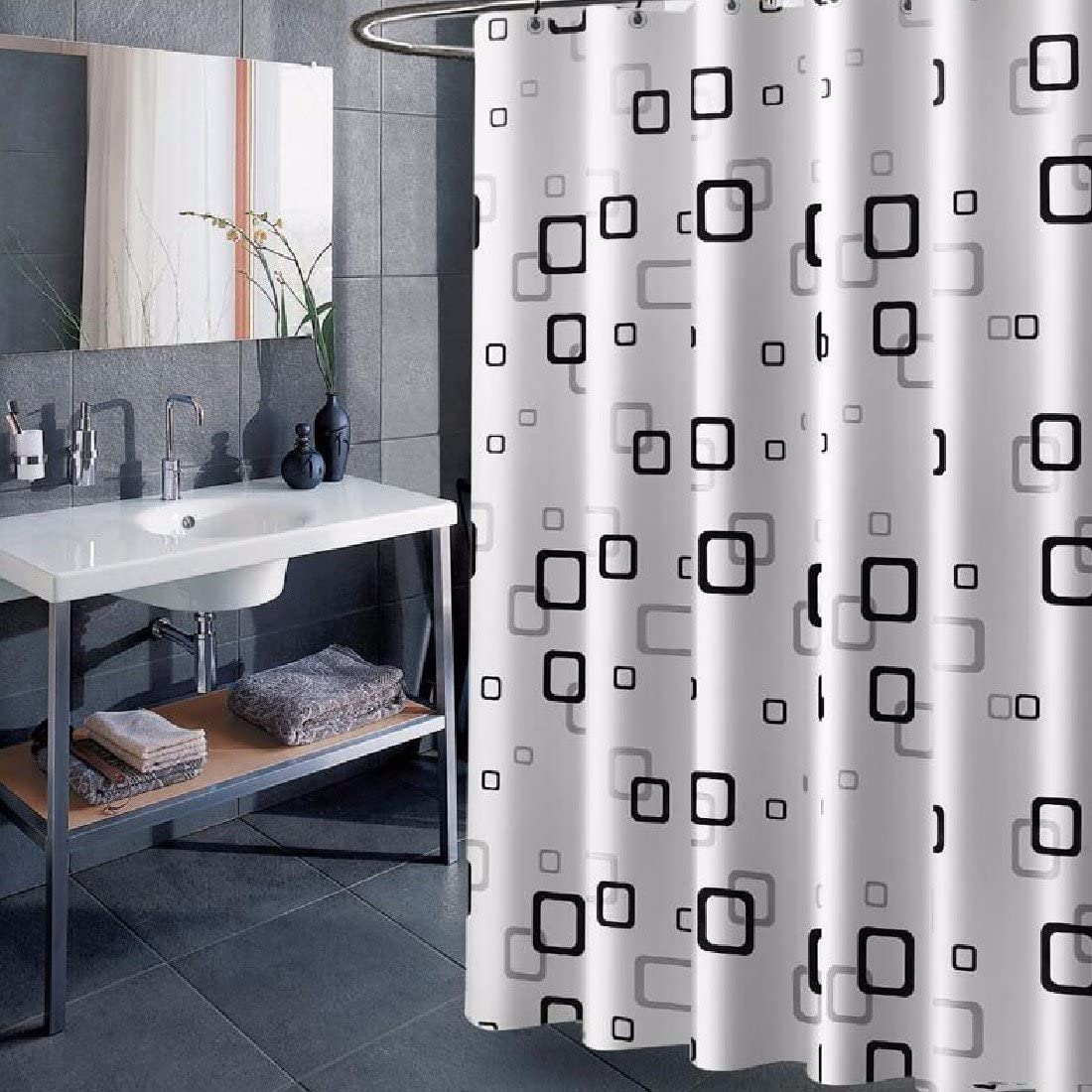 Amazon Com Shower Curtain Thickening Shower Curtain Mould Proof Waterproof Non Perforated Shower Cord Bathroom Partition Curtain 2x2m Home Kitchen