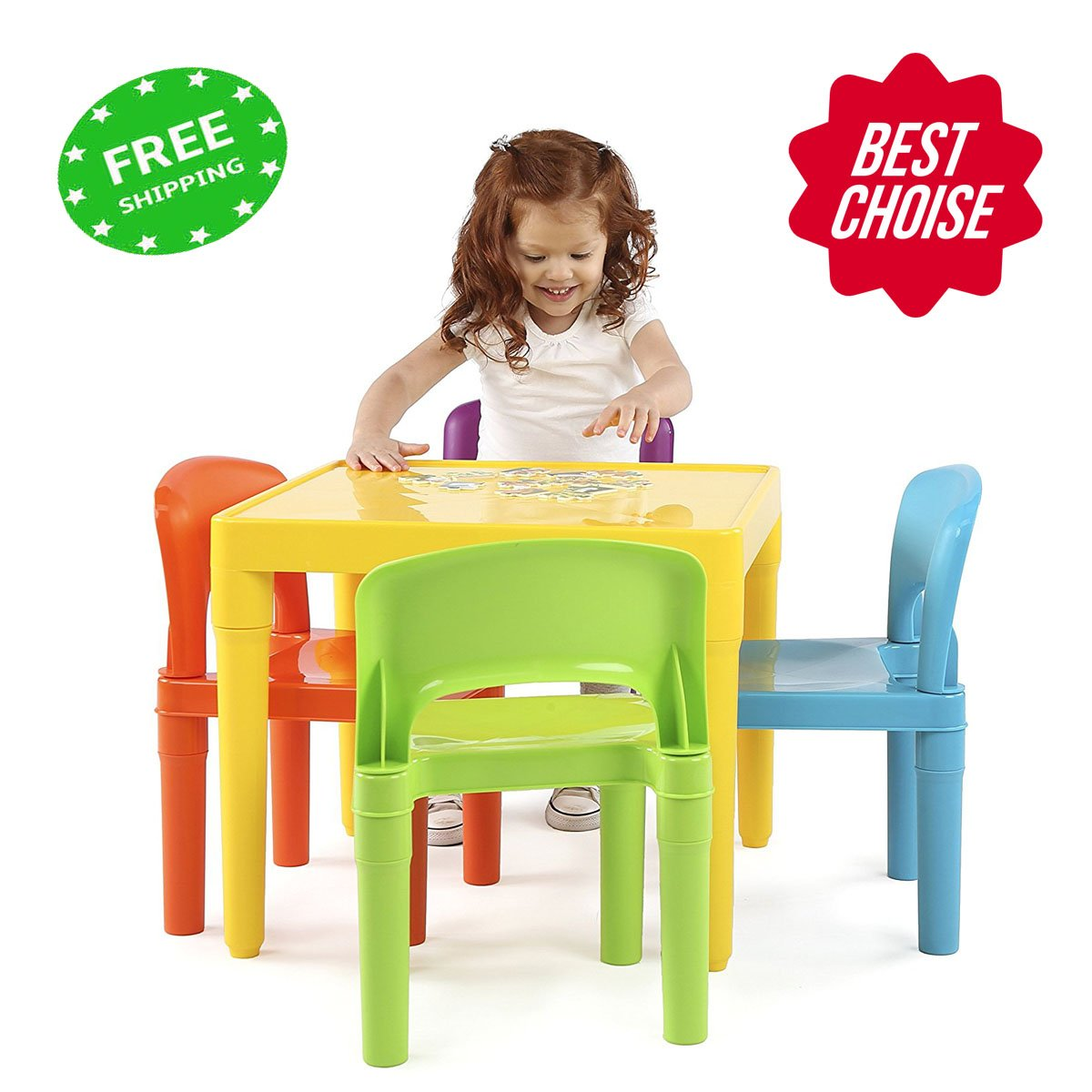 jnwd Kids Work Table Set Cute Colors Small Child Plastic 4 Chairs Toddler Activity Games Hobbies Station & e-Book by jn. Widetrade.