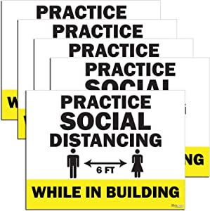 KitAbility Practice Social Distancing Yard Sign for Businesses, While in Building, Bundle of Five 24 by 18 Inch Yellow Yard Signs