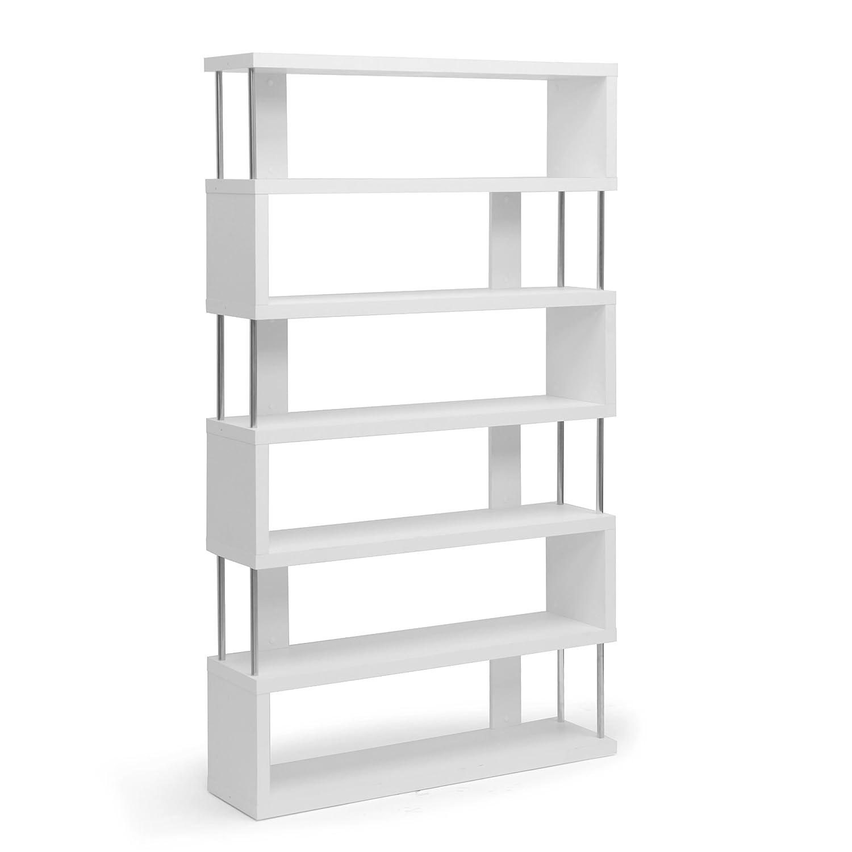Amazon com baxton studio barnes 6 shelf modern bookcase white kitchen dining