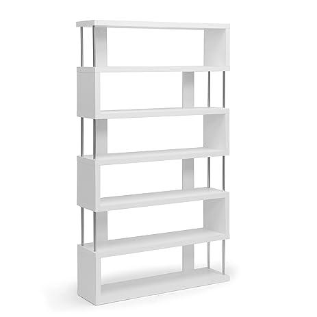 Amazoncom Baxton Studio Barnes 6Shelf Modern Bookcase White