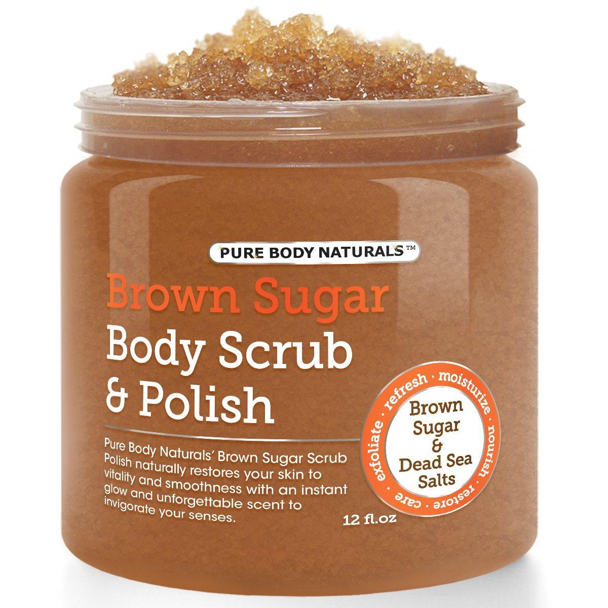Pure Body Naturals Exfoliating Brown Sugar and Dead Sea Salts Body Scrub, 12 Oz