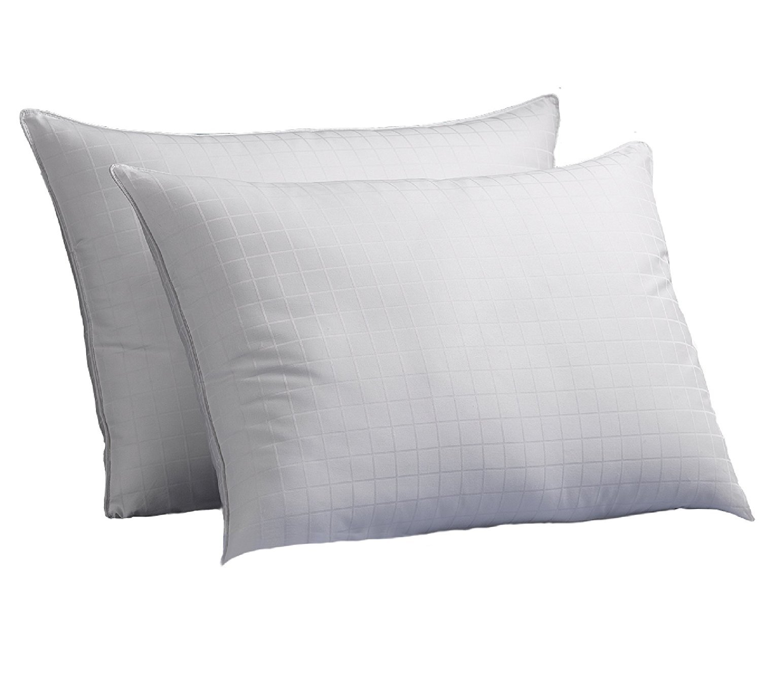 Luxury Plush Down-Alternative Hotel Luxe Pillows 2-Pack, King Size, Gel-Fiber Filled Pillows - Hypoallergenic, 100% Cotton Shell with Windowpane Pattern - Firm Density, Ideal for Side/Back Sleepers