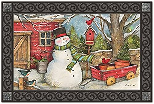 Red Barn Snowman MatMates Doormat Indoor Outdoor 18 x 30