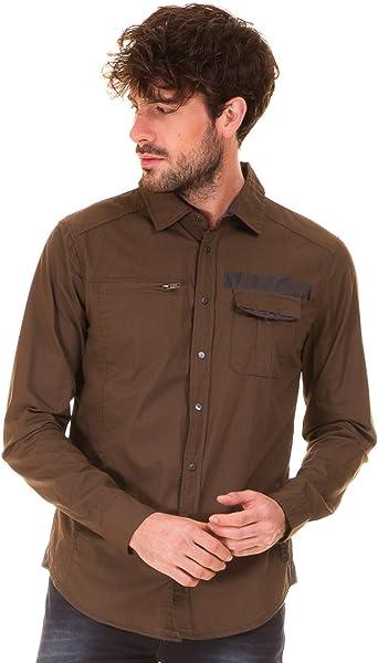 BLEND Camisa Estilo Militar Hombre (L - Verde Kaki): Amazon.es: Ropa y accesorios