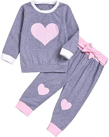 puseky 2 Piezas niños bebé niña corazón Camisa de Manga Larga + Pantalones Bowknot Pijamas Conjunto Trajes de Dormir: Amazon.es: Ropa y accesorios