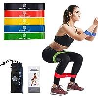 Bandas Elasticas Latex Natural Resistencia Fitness Crossfit Musculación Set 5 Gomas Guía de Ejercicios Bolsa Cintas…
