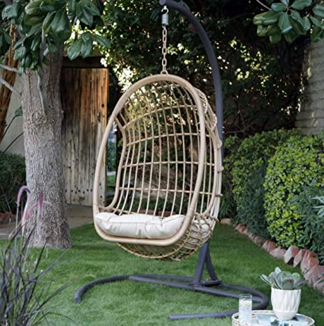 Amazon.com : Palos Home - Resin Wicker Hanging Egg Chair with ...