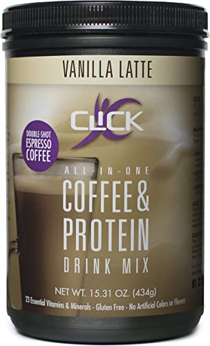 CLICK All-in-One Protein Coffee Meal Replacement Drink Mix, Vanilla Latte, 15.3 Ounce