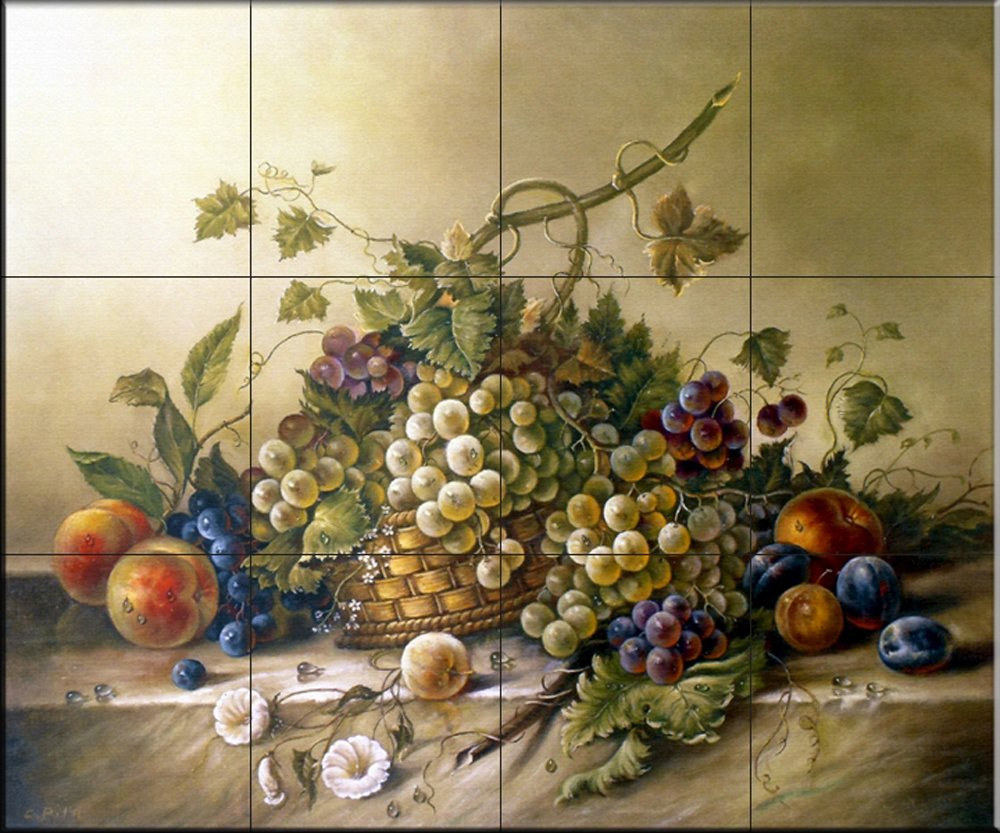 Ceramic Tile Mural - Fruit Bouquet II - by Corrado Pila - Kitchen backsplash/Bathroom shower
