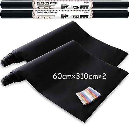 Vinilo Pizarra Negra- Pizarra Adhesiva de Papel Adherente - 60cm x 310cm pack de 2 incluye 10 tizas: Amazon.es: Oficina y papelería