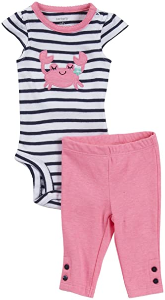 b6459a181 Amazon.com: Carter's 2 Piece Striped Bodysuit and Pants (Baby ...