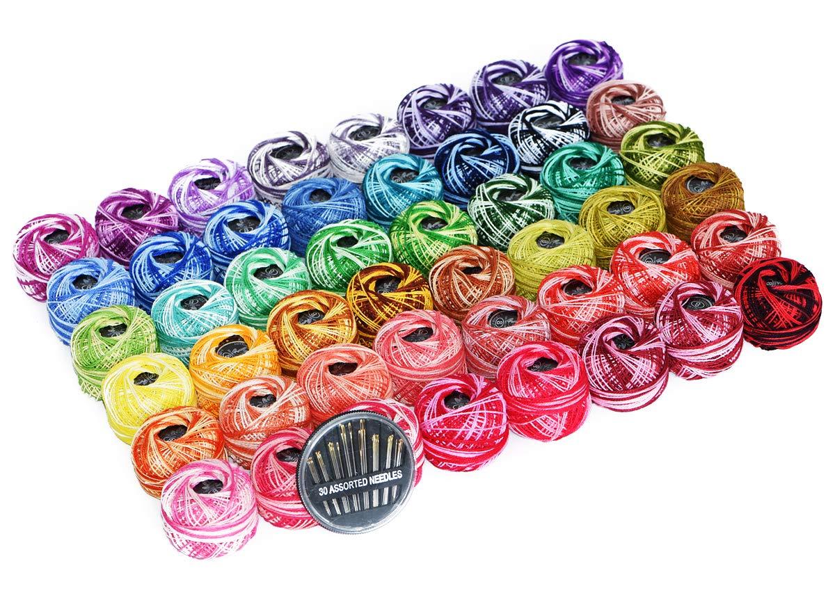 48 Cotton Crochet thread set Ball 5g per Balls Rainbow of Size 8 Perle pear and free 30 golden needles 48Balls Wuxi Chaoqiang Adornment Co. Ltd. 4336923413