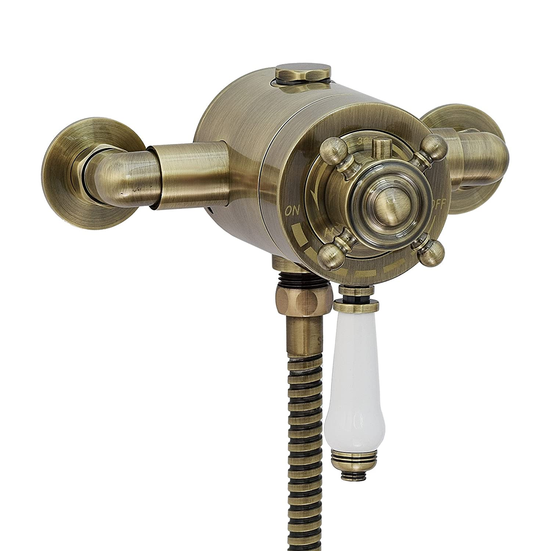 ENKI grifo mezclador vá lvula termostá tica concé ntrica exterior bronce CLAREMONT IMDSW094AB
