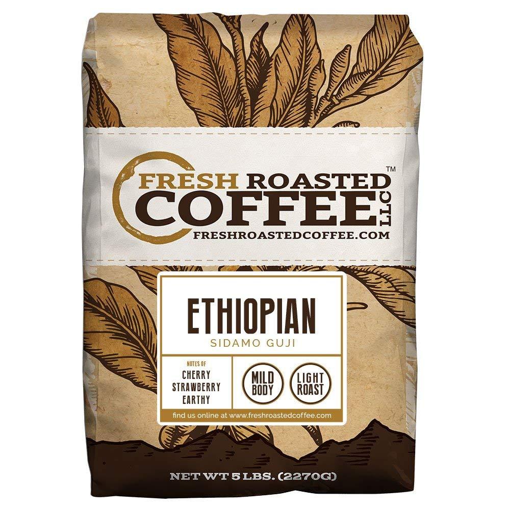 Fresh Roasted Coffee LLC, Ethiopian Sidamo Guji Coffee, Light Roast, Single Origin, Whole Bean, 5 Pound Bag
