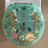 "Heavy Duty Comfort Seahorse Seashells Round Toilet Seats with Cover Acrylic Seats.(New Sea Green ""17 Inch)"