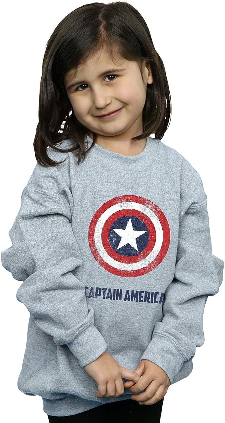 Marvel Mädchen Captain America Shield Text Sweatshirt: Amazon ...