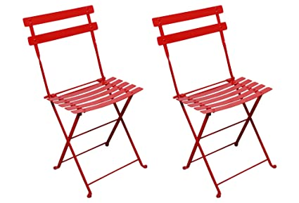 Excellent Mobel Designhaus French Cafe Bistro Folding Side Chair Flame Red Frame Steel Metal Slats Pack Of 2 Caraccident5 Cool Chair Designs And Ideas Caraccident5Info