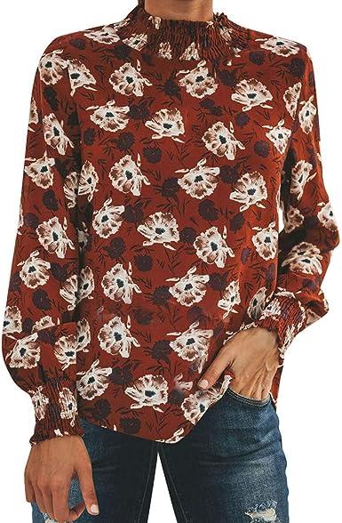 Camiseta Mujer Flores Cuello Alto Camisa de Manga Larga de Talla Grande Elegante Tunica Blusa Tops Floral Rojo XXL: Amazon.es: Ropa y accesorios