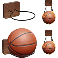 UHIAGREE 2 Pack Sports Ball Holders, Wood & Metal Wall Mount Display Rack with 2 Pack Basketball Net Bags for Basketball…