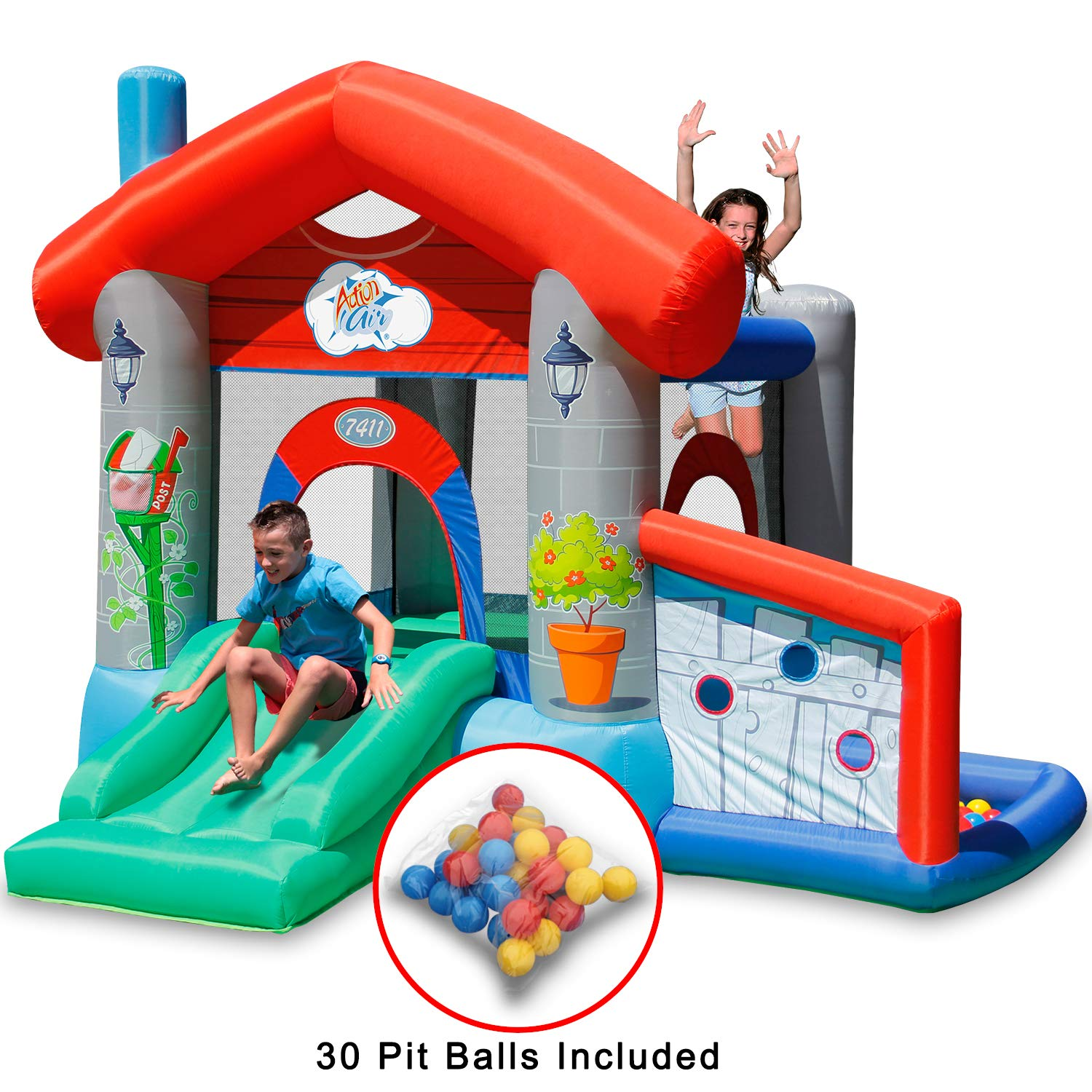 ACTION AIR Bounce House, Air Bouncer with 30 Ball, Inflatable Bouncer with Air Blower, Jumping Castle with Slide, for Outdoor and Indoor, Durable Sewn with Extra Thick Material, Idea for Kids by ACTION AIR (Image #1)