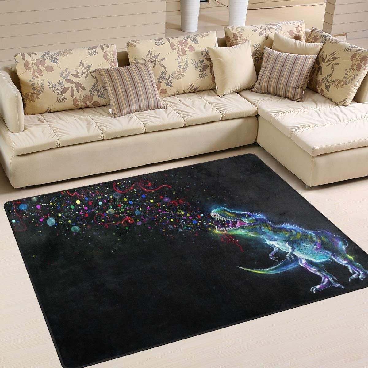 BALII Dinosaurier farbspektrums Rainbow Party Sparkles Kinder Bereich Teppich Matte Matte Matte Boden Teppich 203 x 147 cm, Polyester, Multi, 80