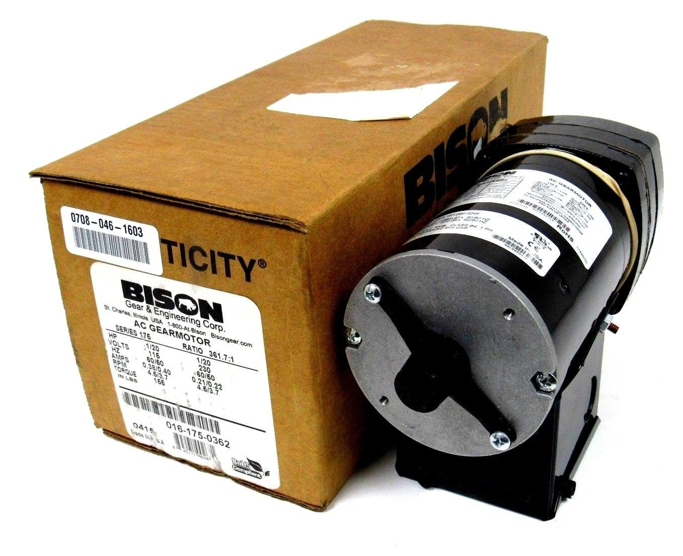 NEW BISON 016-175-0362 AC GEARMOTOR 0161750362 SERIES 175 RATIO 361.7:1
