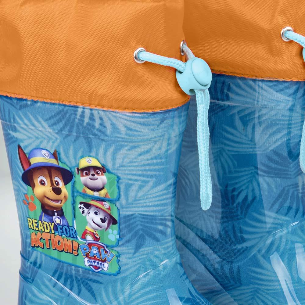 Marcus Ruben Chase Perletti Paw Patrol Bottes de Pluie Enfant Bleu Clair Orange La Pat Patrouille Bottines Impermeables Fils Gar/çon avec Semelle Anti D/érapante