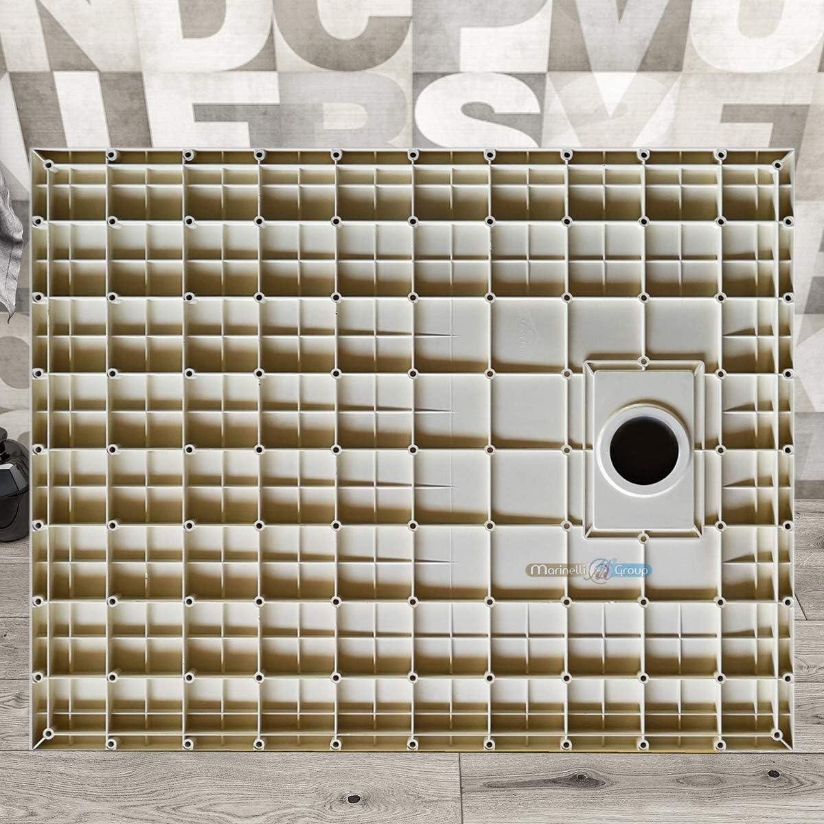 BEIGE BIANCO NERO 70 80 90 100 120 140 160 180 cm piletta inclusa Piatto doccia effetto pietra ardesia stone smc 80x100 cm, Nero no marmoresina Euclide