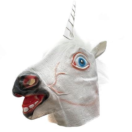 Unicornio máscara unicornio látex para disfraz de Halloween máscara de caballo