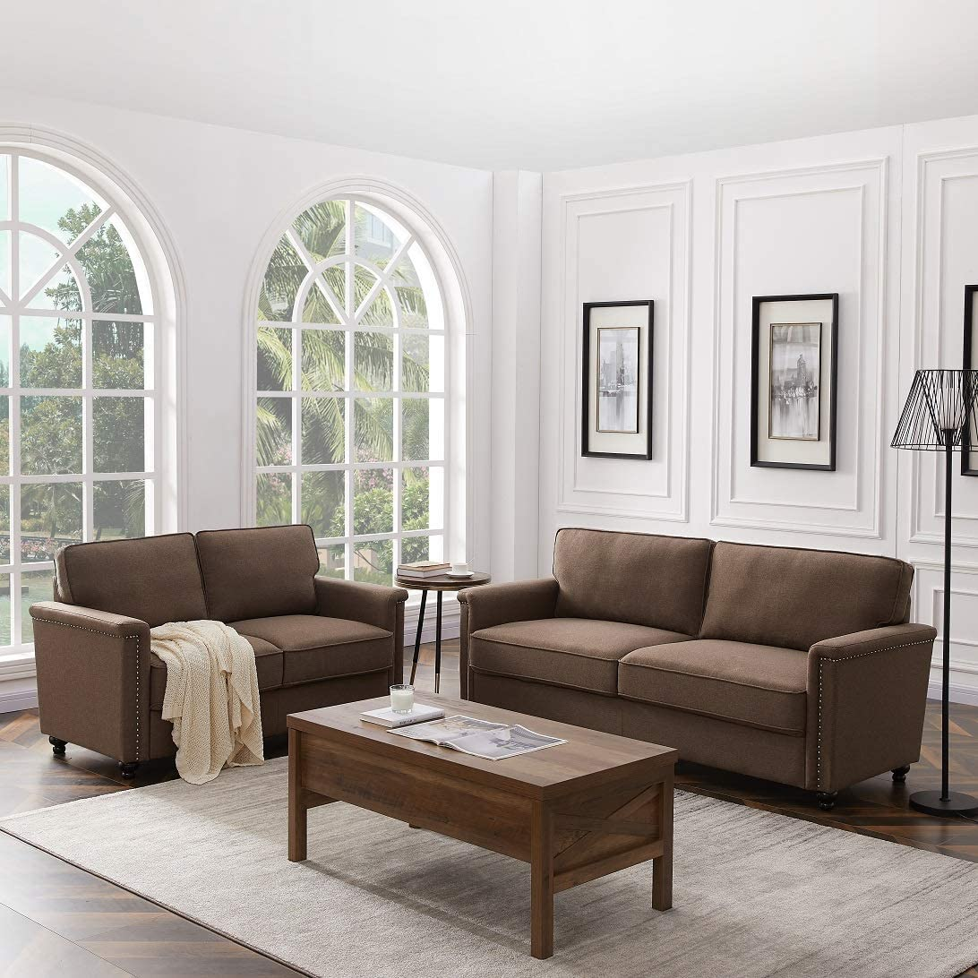 Rhomtree 2 Pieces Sofa Set Living Room Set Sectional Sofa Couch with 3 Seat Sofa Loveseat Home Furniture (Brown)