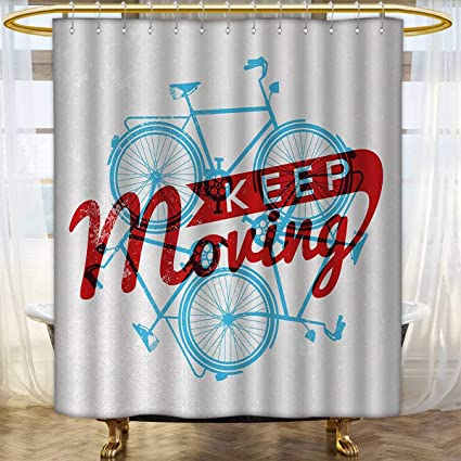 Anhounine Retro Fabric Shower Curtains Keep It Moving Motivational Phrase Hipster Lifestyle Bicycle Grunge Display Bathroom