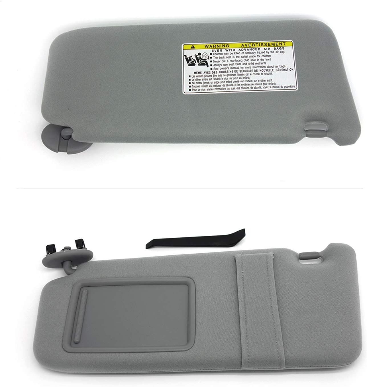 koxuyim # 74320-06780-B0//74320-33B81-B0 Fit Toyota Camry Without Light NO Sunroof Gray Sun Visor Mirror Left Driver Side Replacement Part for 07-11 Toyota Camry