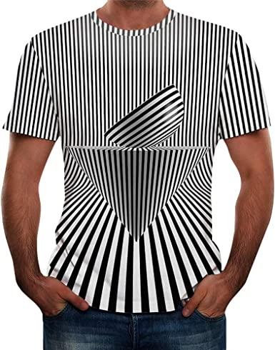 Camisetas Hombre Originales Camisas Hombre Manga Corta Blusa Hombre Manga Corta Camisetas de Manga Corta Impresa 3D para Hombre Geometría de Rayas Blancas y Negras Camisetas Hombre: Amazon.es: Ropa y accesorios