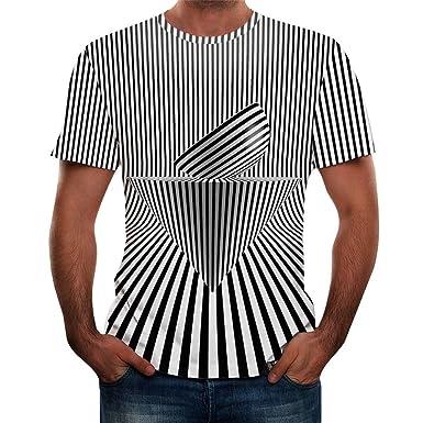 SUDADY Camisetas para Hombre, 3D Impreso Manga Corta Tops, Espacio ...
