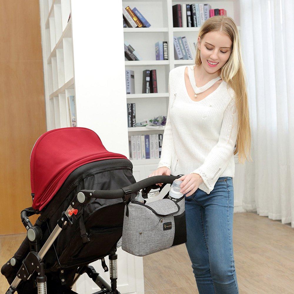 Organizador de Cochecito de Bebé – Bolso de cochecito Universal para Almacenamiento con dos Portavasos Profundos (Gris)