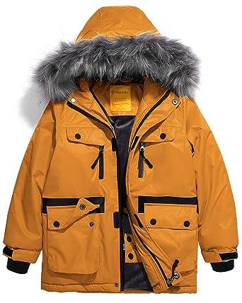 b091c312538 Wantdo Boys  Waterproof Ski Jacket Parka Outdoor Warm Winter Coat(Yellow ...