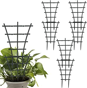 NMFIN 6Pcs Plastic Climbing Trellis, Plant Vine Leaf Support Stakes,Flower Plant Climbing Frame, Trellises for Potted Climbing Plant Vines Vegetables Climbing Stakes