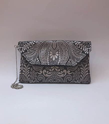 Bolso Clutch/Sobre de tela fallera gris/plata
