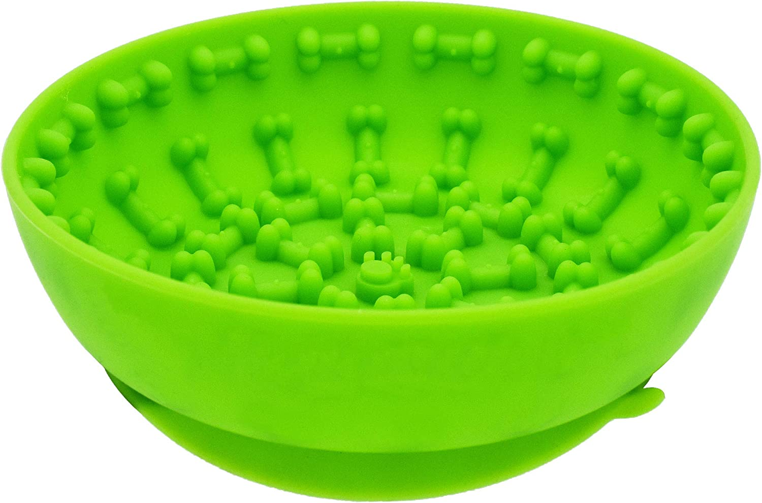 Dog Slow Feeder Bowls ,Non Slip with Suction Cup,Anti-gulping pet Slower Food Feeding Dishes Distracts, Calms Anxiety,Very Suitable for Food Treats Yogurt Peanut Butter (Green)
