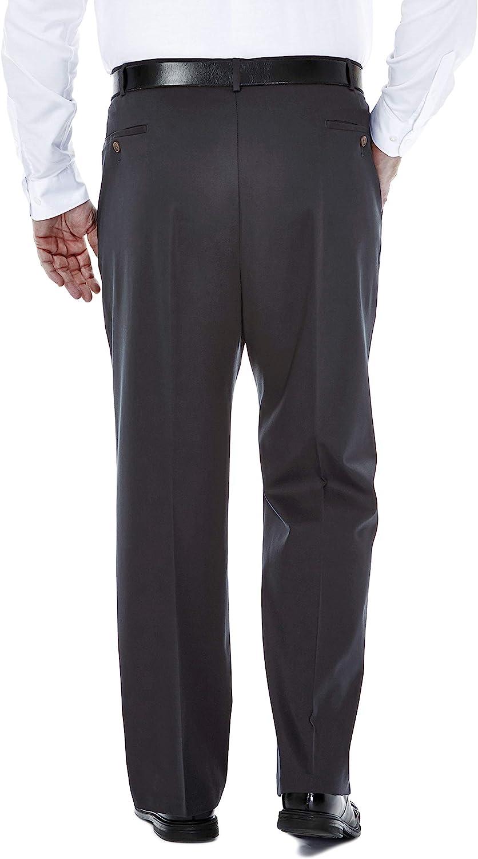Haggar Mens Big-Tall Premium No Iron Classic Fit Expandable Waist Pleat Front Pant